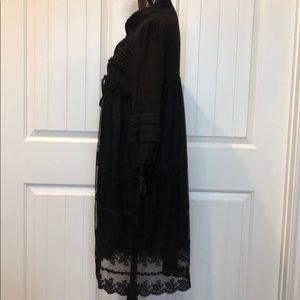Ryu Tops - Ryu Black Lace Sheer Bottom Lined Duster Medium